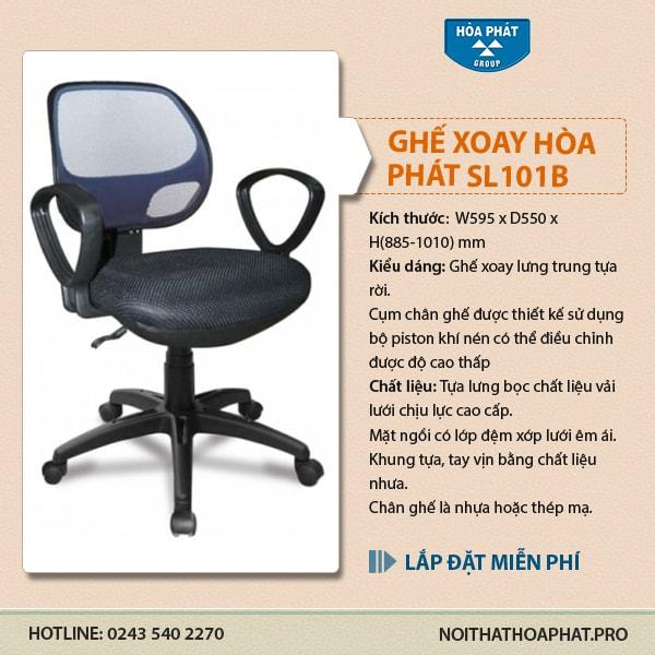 Ghế xoay văn phòng Hòa Phát GL101B
