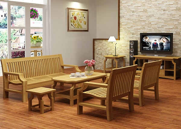 Sofa phòng khách chung cư bằng gỗ cho cảm giác thanh lịch