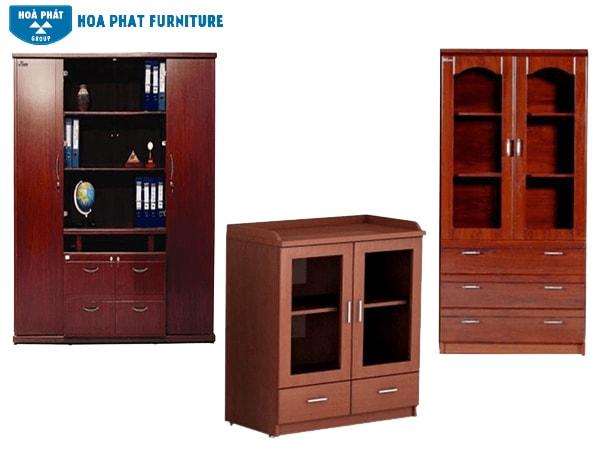 Tủ gỗ Hòa Phát có màu sắc bắt mắt hơn, phù hợp cho văn phòng của sếp