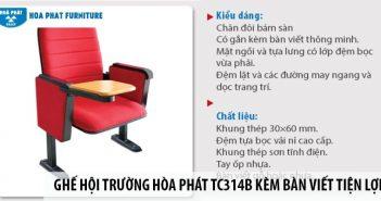 Ghế hội trường Hòa Phát TC314B kèm bàn viết tiện lợi, giá tốt 2
