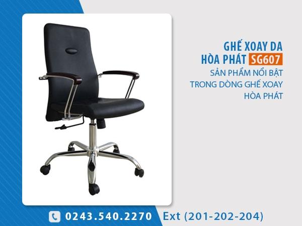 Ghế xoay da Hòa Phát SG607 kiểu dáng lưng trung, đệm ngồi và tựa lưng bọc PVC