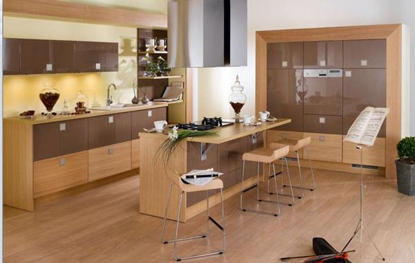Nên chọn màu nâu làm đồ nội thất phòng bếp cho gia chủ mệnh Mộc
