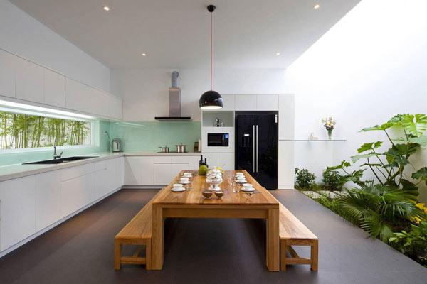 Gạch trần là vật liệu nên dùng khi cải tạo phòng bếp