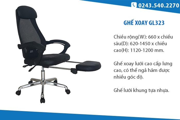 Ghế GL323 - Ghế xoay lưới có gác để chân