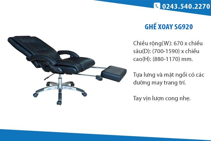 Ghế SG920 - Ghế xoay da có tay vịn lượn cong
