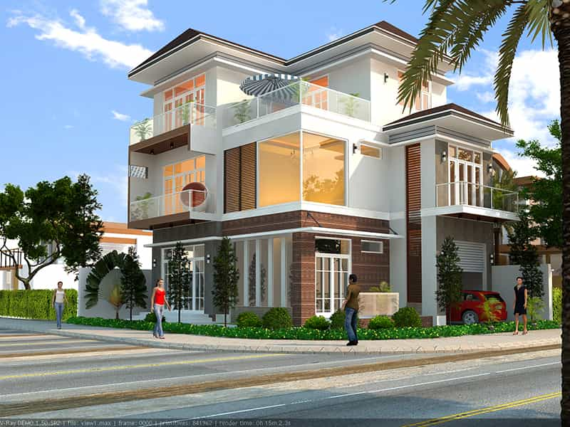 Phối cảnh 3D mẫu nhà biệt thự hiện đại 3 tầng 100m2